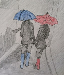 Tatum Cranford The Blue Umbrella pencil crayon 13 254x300 Art For Homeschool April 2014 Art Show Award Winners