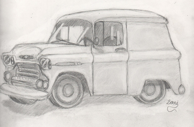 Ellie, 13, 59' Chevy Panel, pencil