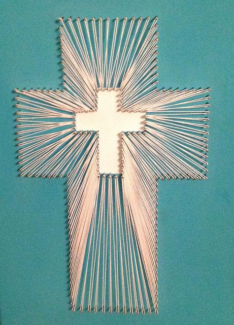 Kyla, 15, String Art Cross, mixed media